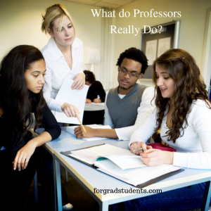 What Do Professors Do? Photo of a professor assisting 3 diverse students working together on an assignment